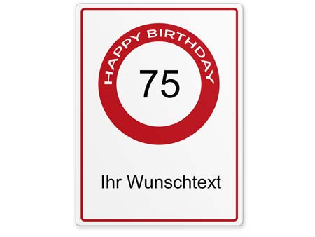 Happy-Birthday-Schild 75 Jahre